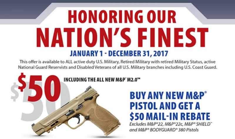 Smith & Wesson Promotion: Nations Finest Pistol Rebate EXPIRES DEC 31, 2017