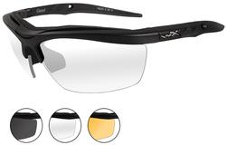 Wiley X Guard Sunglasses - 3 Lens Package, 1 Matte Black Frame w/Smoke Grey,Clear,Light Rust Lens, 4006
