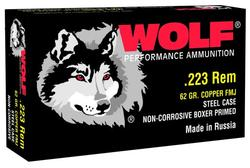 Wolf Performance Ammo .223 Rem 62GR FMJ Steel Case 500 Rds Case