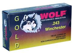 Wolf G243SP1 Gold 243 Winchester Jacketed Soft Point 100 GR 20Box/25Case