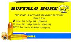 Buffalo Bore Ammunition SubSonic LowFlash Hvy 9mm 147gr JHP /20