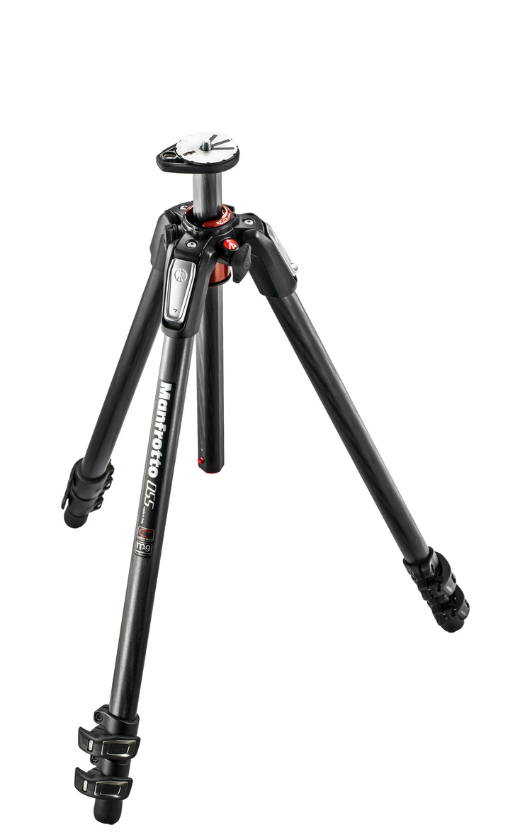 Manfrotto 055 Aluminium Carbon Fiber 3-section Tripod w/ Horizontal Column