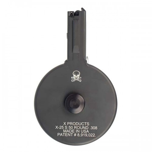 X-Products X-25-S AR-10, .308 Winchester Skeletonized Drum Magazine, 50 Rounds