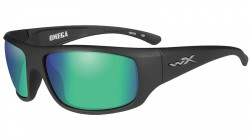 Wiley X WX Omega Sunglasses - Polarized Emerald Mirror w/Amber Lens / Matte Black Frame, ACOME07