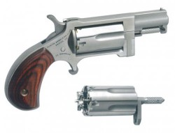 "North American Arms Sidewinder Single Action Revolver .22 WMR/.22 LR 1"" Barrel 5 Rounds Wood Grips Stainless Finish NAA-SWC"