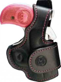 Bond Arms Driving Holster Rh Thumbsnap Black/pink Stitching