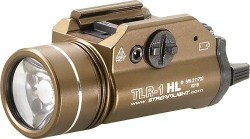 Streamlight TLR-1 HL Flashlight, 800 Lumens w/Lithium Batteries, Flat Dark Earth Brown - 69267