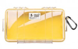 Pelican 1060 Micro Water/Crushproof Dry Box, 9.37x5.56x2.62in - Clear, Yellow Liner w/Carabiner