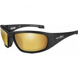 Wiley X WX Boss Sunglasses - Polarized Venice Gold Mirror w/Amber Lens / Matte Black Frame, CCBOS04