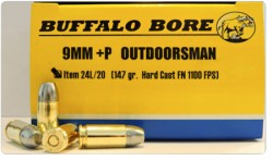 Buffalo Bore Ammunition Outdoorsman 9mm  P 147Gr JHP 20Rds