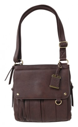 Bulldog Cases Medium Cross Body Style Purse w/Holster, Chocolate Brown, BDP-035