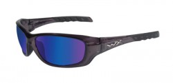 Wiley X WX Gravity Sunglasses - Polarized Blue Mirror w/Green Lens / Black Crystal Frame, CCGRA04
