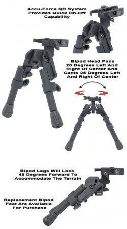 GG&G Picatinny XDS-2 Tactical Bipod, Black, Compact, GGG1745