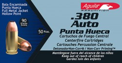 Aguila 380ACP 90GR HP 50/20 BRASS CASE