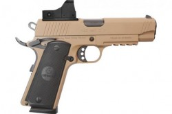 "EAA GiRSAN MC1911C Commander Model .45 ACP Semi Auto Pistol 4.4"" Barrel 8 Rounds Red Dot Optic Ambidextrous Safety Flat Dark Earth Finish"