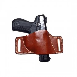 HUNTER HOLSTER LEATHER BELT SLIDE MED CHESTNUT TAN
