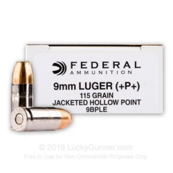 9mm - +P+ 115 Grain JHP - Federal Hi-Shok LE 50 rounds NOT 1000