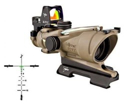 Trijicon 4x32 ACOG ECOS, Dual Illuminated Green Crosshair 5.56 Reticle w/ Backup Iron Sights, Quick Release Mount & LED 3.25 MOA Red Dot RMR Type 2, Cerakote FDE, 100554