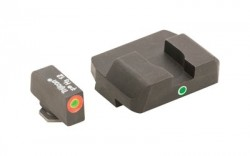 Ameriglo Night Sight Set - Pro I-Dot Style - Green w/ ProGlo Orange Outline Front / Single Green Rear - Fits For Glocks 17