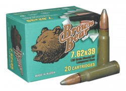 Brown Bear Ammunition Brown Bear 7.62x39 125 Grain Soft Point Ammunition, 500 Round Case Md: AB762SP