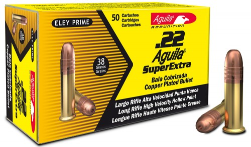 AGUILA AMO 22LR HIGH VELOCITY HP 38GR COPPER COATED LEAD 10/50RD