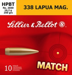 Sellier and Bellot Match .338 Lapua 250GR BTHP 10Rds