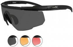 Wiley X Saber Advanced Sunglasses - 3 Lens Package, 1 Matte Black Frame w/Smoke Grey, Light Rust, Vermillion, 309