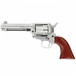"Taylor's & Co Cattleman Floral Engraved .357 Mag Single Action Revolver 4.75"" Barrel 6 Rounds Walnut Grips White Heat-Treated Finish"