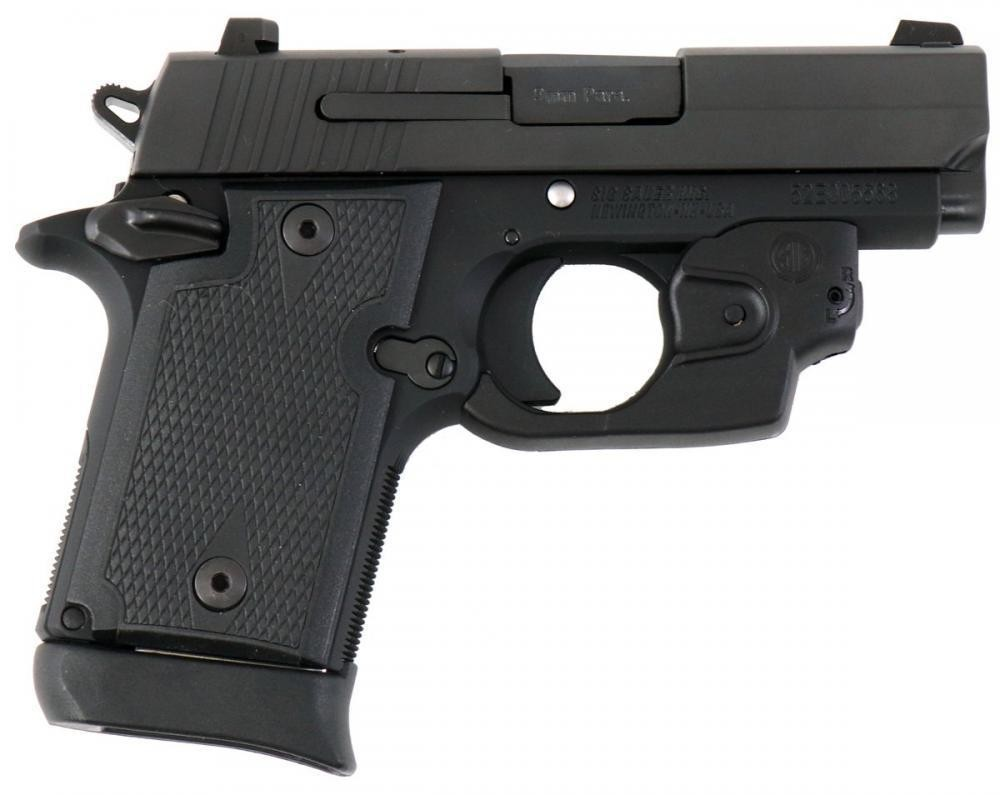 Sig Sauer P938 HGA 9MM 3IN BBL NITRON CONTRAST Sig SauerHTS BLACK POLY GRIP 6RD AMBI SAFETY W/ LASER